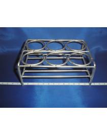 Подставка для тиглей фарфоровых из нержавеющей стали, 6 ячеек