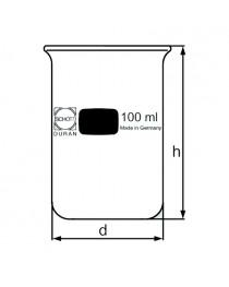 стакан высокий без носика и с градуировкой 250 мл (DURAN, Германия) (211173603)