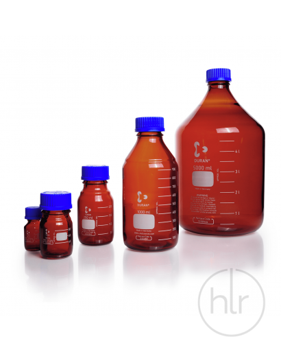 Бутыль для реагентов с винтовой крышкой и градуировкой 10 мл, GL 25, темное стекло (DURAN, Германия)