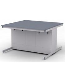 Стол лабораторный островной.Материал рабочей поверхности стола: полимерный композит на основе эпоксидных смол DURCON с бортиком.Габариты (ДхГхВ), мм: 1500х1500х900 (для работы стоя).