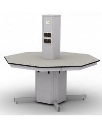 Шкаф-стол островной лабораторный.Материал рабочей поверхности столешницы: химически стойкий пластик ЛАБГРЕЙД без бортика (пр-во Италия).Габариты (ДхГхВ), мм: 1500х1500х750(1470).