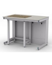 Стол для весов.Материал рабочей поверхности: ламинат высокого давления (основа - влагостойкая фанера) и гранитная плита.Вариант исполнения - комбинация стола каркасного и лабораторного.Габариты (ДхГхВ),мм: 1200х750х900 (для работы стоя).