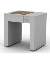 Стол для весов.Материал рабочей поверхности: ламинат высокого давления (основа - влагостойкая фанера) и гранитная плита.Вариант исполнения – массивный стол с двойным каркасом и балластом.Габариты (ДхГхВ), мм: 900х750х900 (для работы стоя).